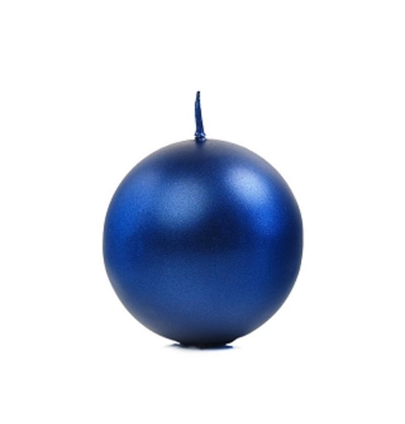Set de 10 velas esféricas azules marino de 6 cm