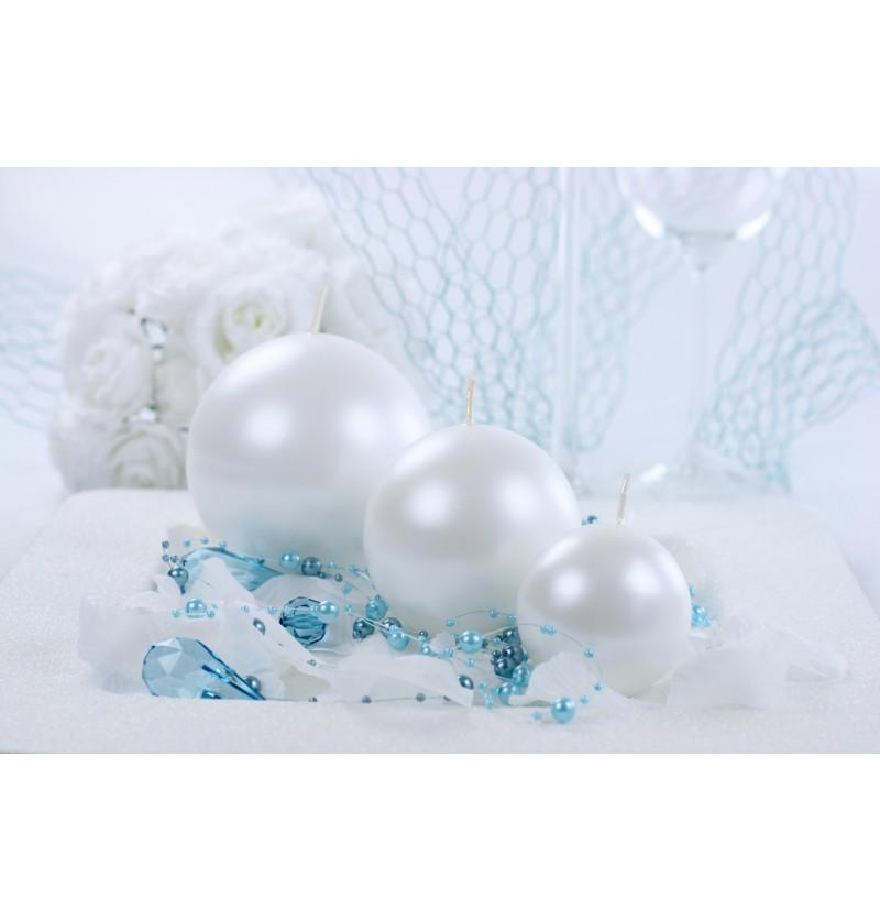 Set de 6 velas esféricas perlas de 10 cm
