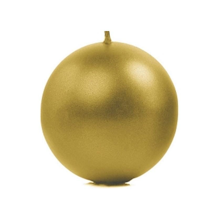 Set de 6 velas esféricas doradas de 10 cm