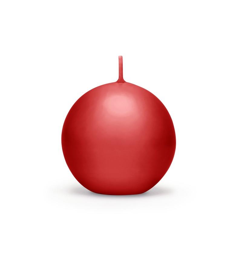Set de 6 velas esféricas rojas de 8 cm