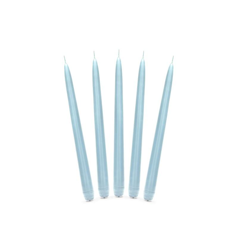 Set de 10 velas azul cielo mate de 24 cm
