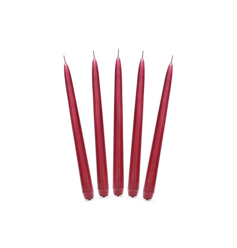 Set de 10 velas rojas mate de 24 cm