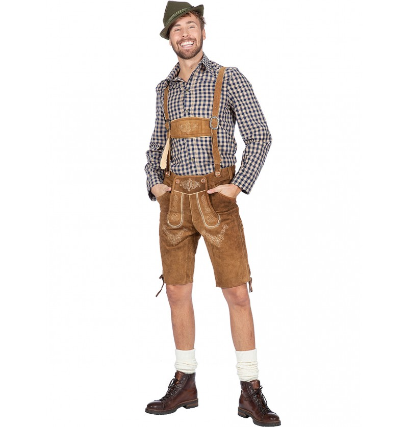 Camisa de tirolés Oktoberfest marrón para hombre