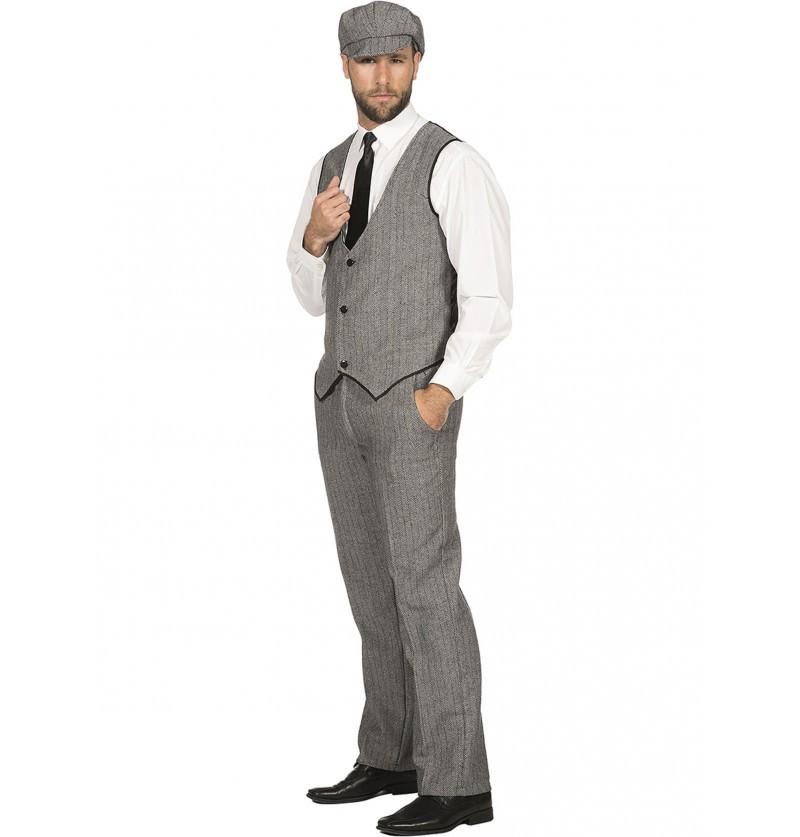 Disfraz de mafioso irlandés gris para hombre