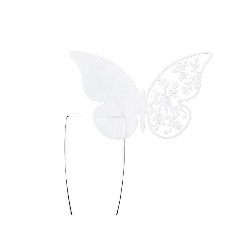 Set de 10 decoraciones para vaso con forma de mariposa y ala con flores blanca
