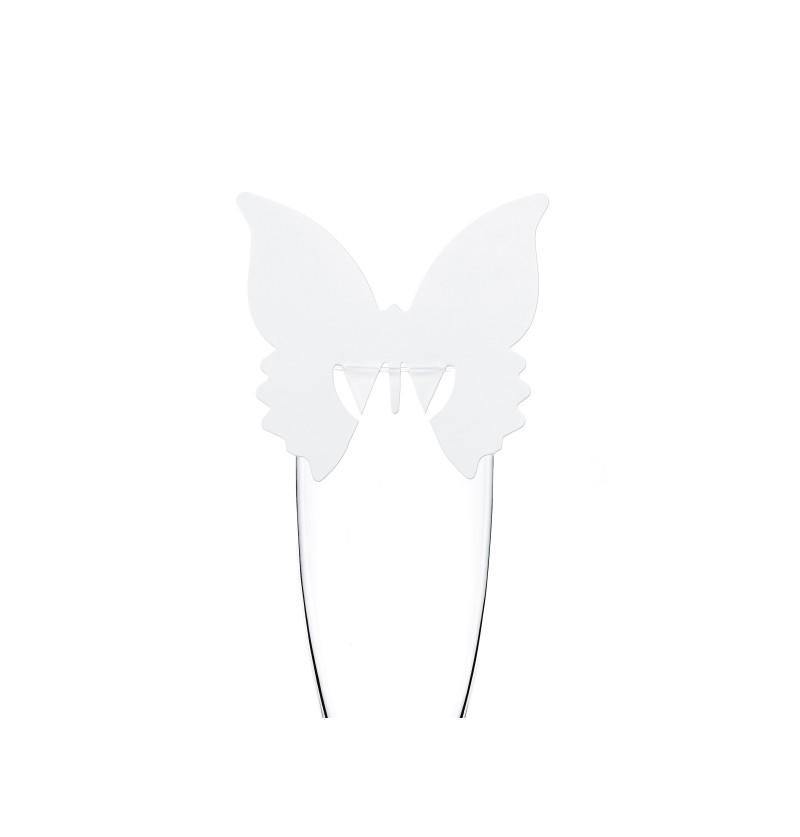 Set de 10 decoraciones para vaso con forma de mariposa blanca