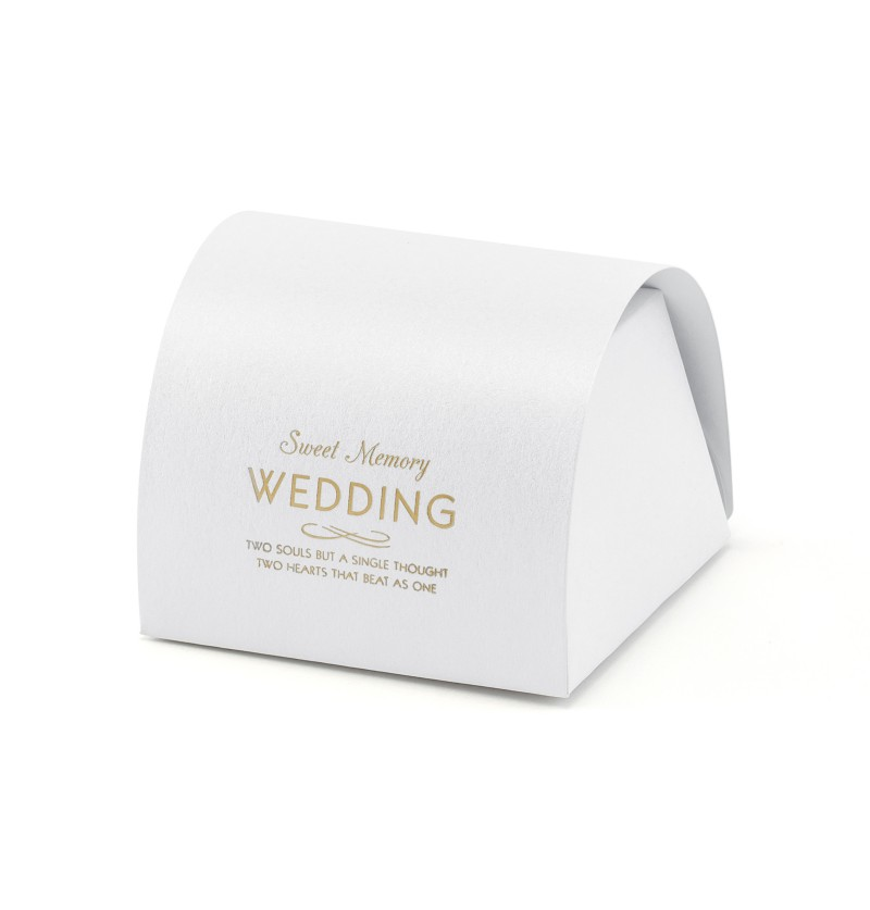 "Set de 10 cajas de regalo blancas con texto dorado ""Sweet Memory Weeding"" - White & Gold Wedding"
