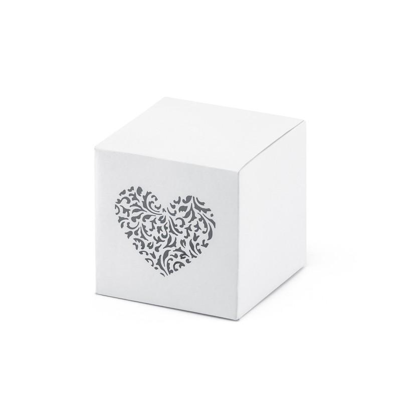 Set de 10 cajas de regalo blancas con estampado de corazón