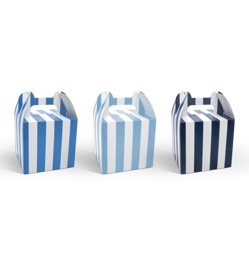 Set de 6 cajas en tonos azules con rayas - Little Plane