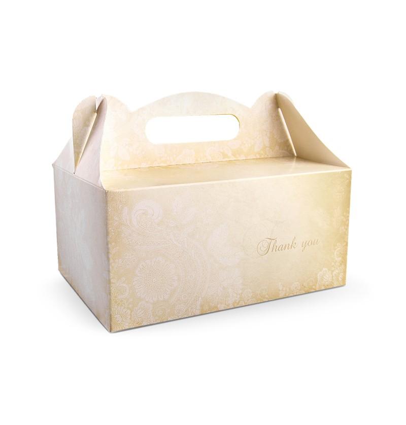 Set de 10 cajas doradas con estampado y texto en inglés para pastel