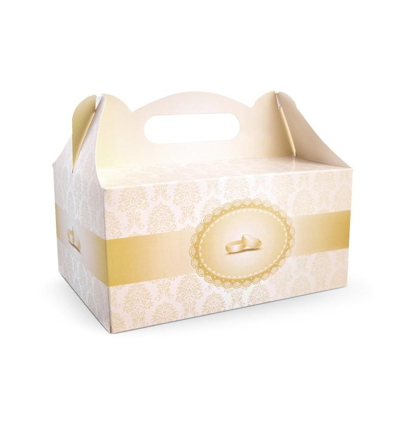 Set de 10 cajas doradas para pastel con anillos para tarta