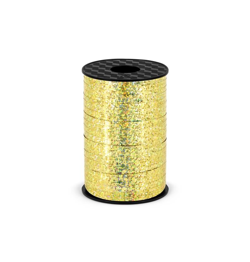 Cinta dorada holográfica de 5 mm de plástico
