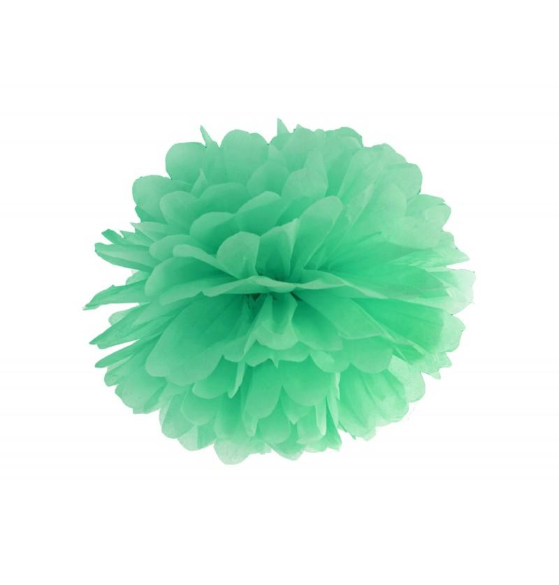 Pompón decorativo verde menta de 35 cm de papel