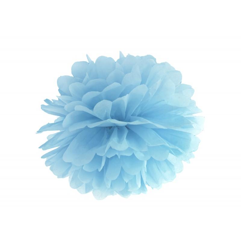 Pompón decorativo azul de 35 cm de papel