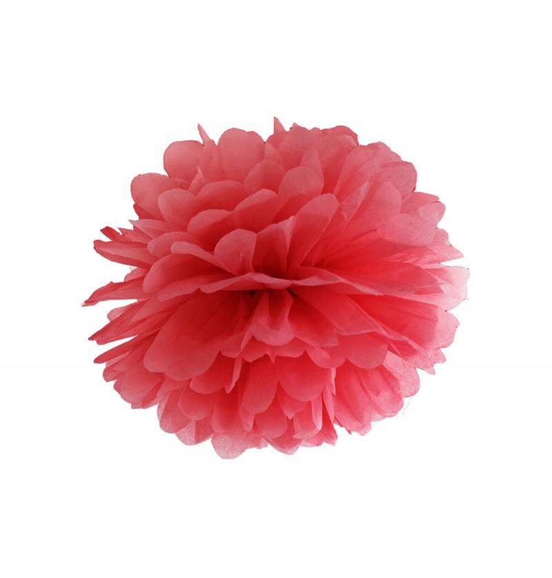 Pompón decorativo rojo de 35 cm de papel