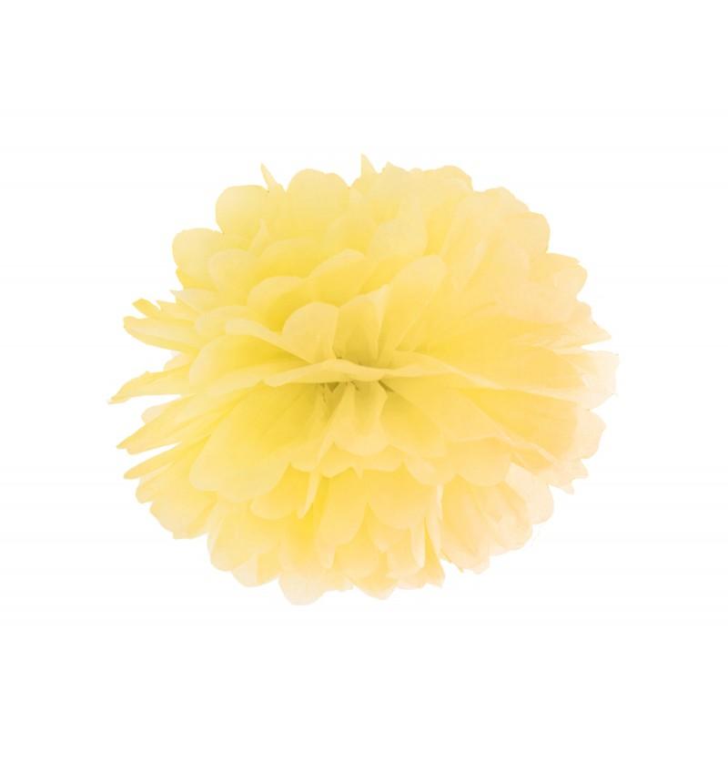 Pompón decorativo amarillo de 25 cm de papel