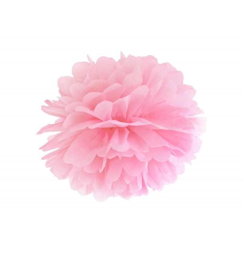 Pompón decorativo rosa pastel de 25 cm de papel