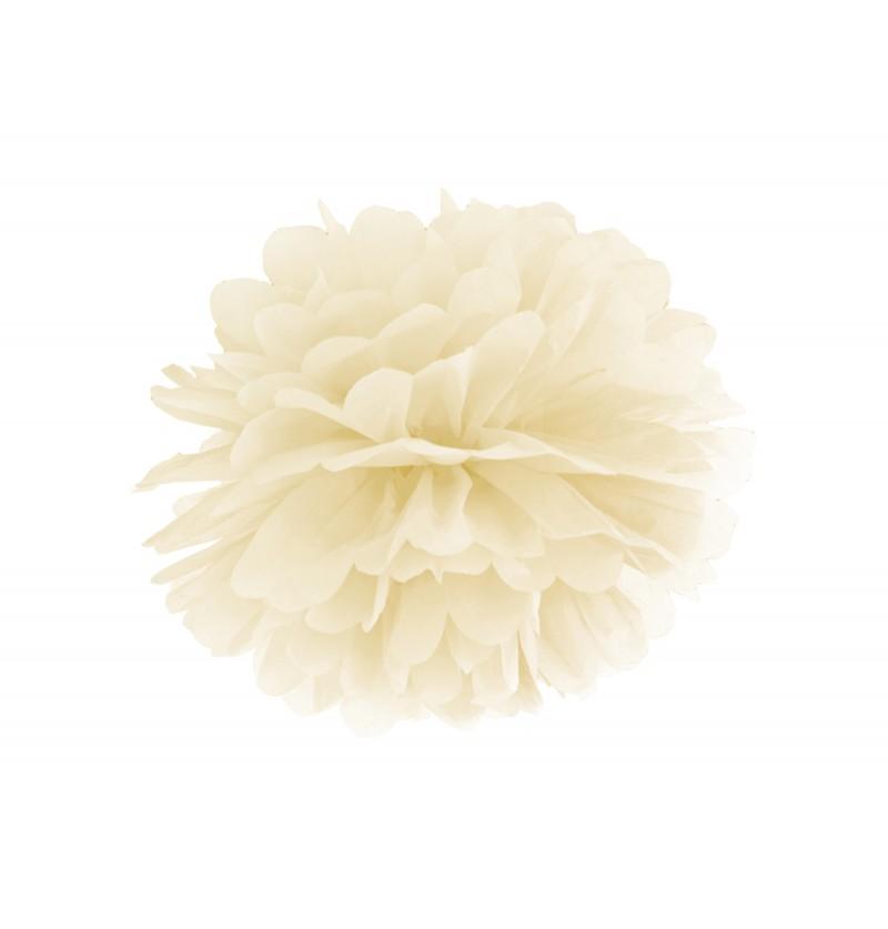 Pompón decorativo beige de 25 cm de papel