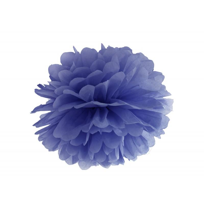 Pompón decorativo azul oscuro  de 25 cm de papel