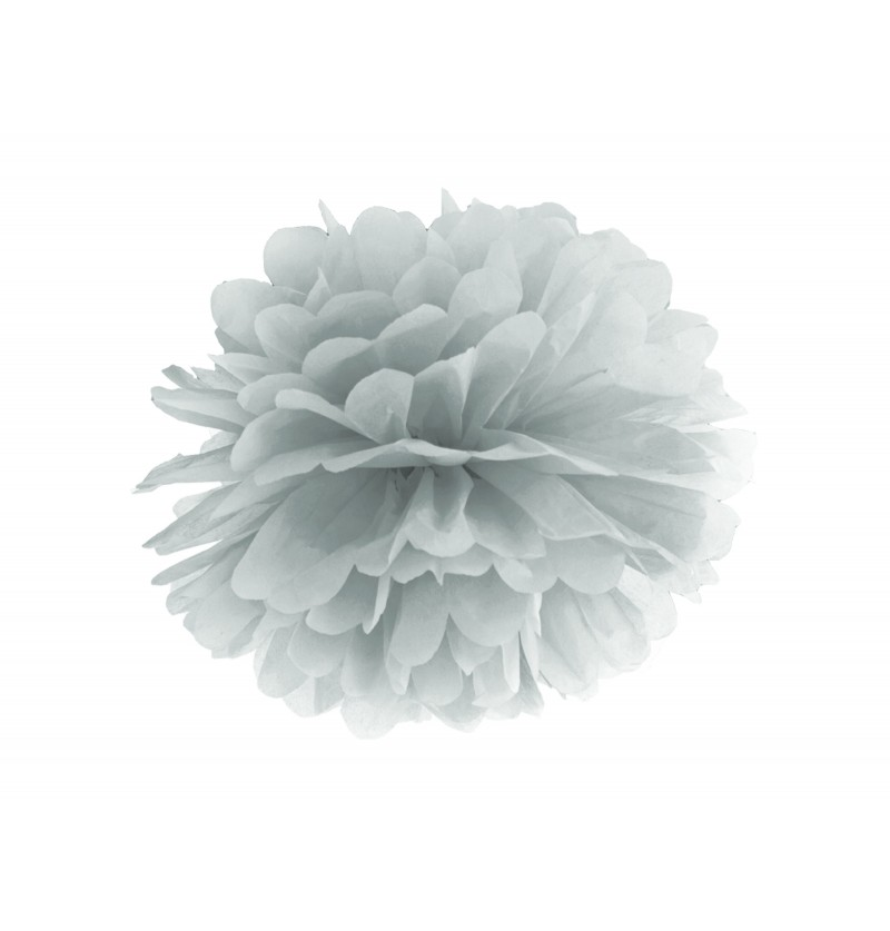 Pompón decorativo plateado de 25 cm de papel