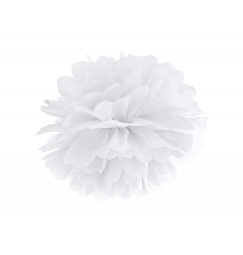 Pompón decorativo blanco de 25 cm de papel