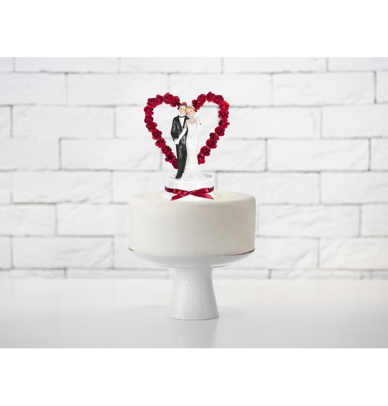Figura para tarta de boda con corazones y lazo verde