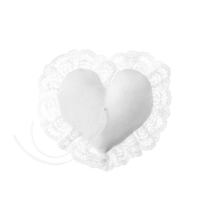 Cojín blanco con puntilla y flores para anillos