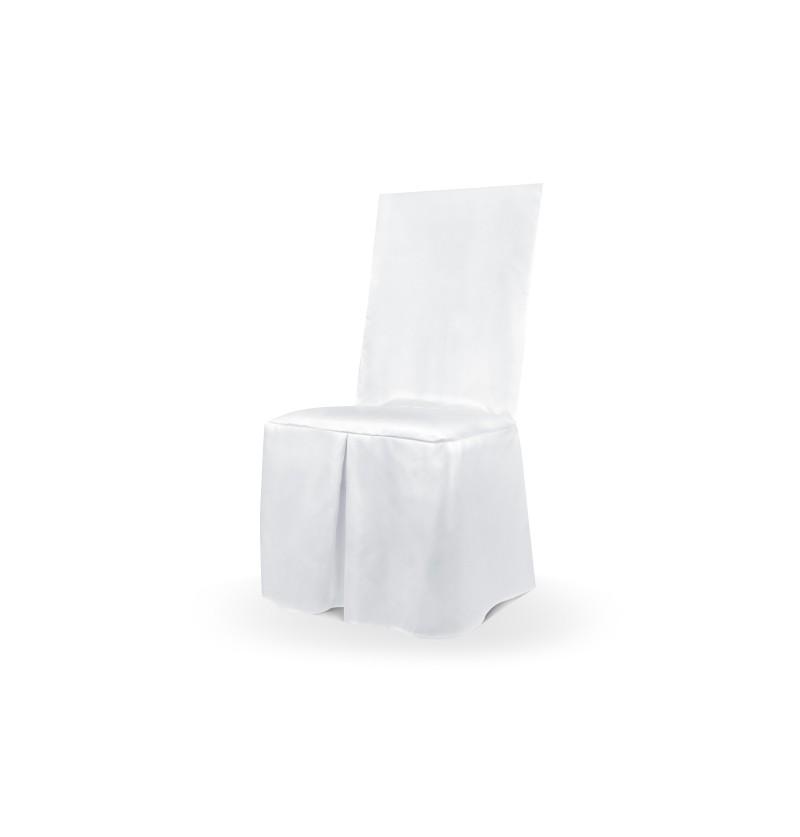 Funda de tela blanca brillante para silla 107 cm