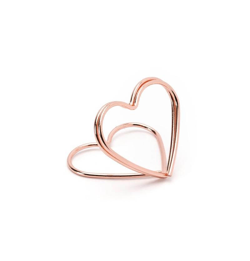 Set de 10 sujeta tarjetas con forma de corazón oro rosa para mesa - Tropical Wedding