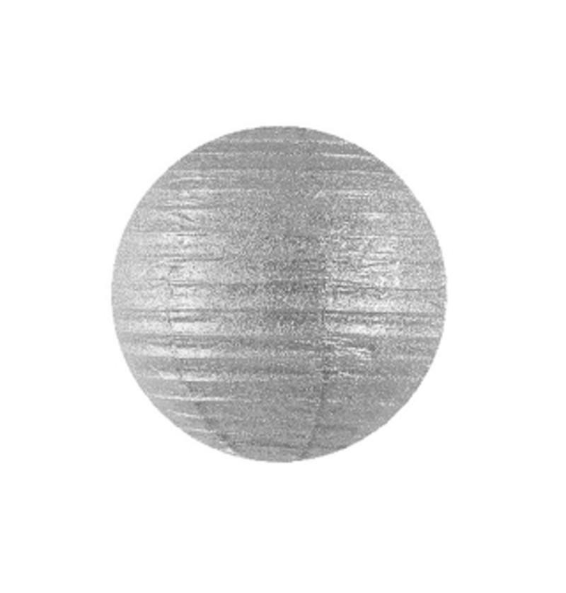 Farolillo plateado de papel de 45 cm