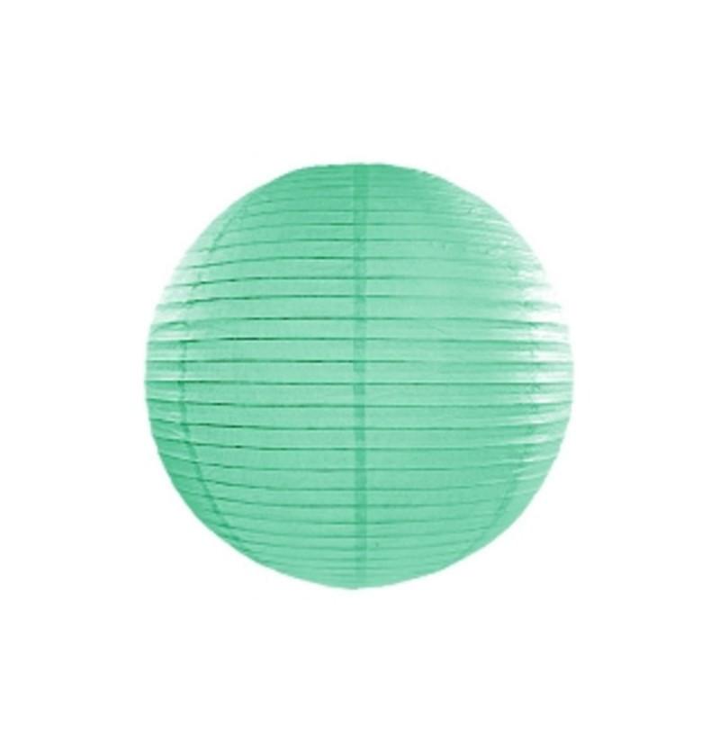 Farolillo verde menta de papel de 35 cm