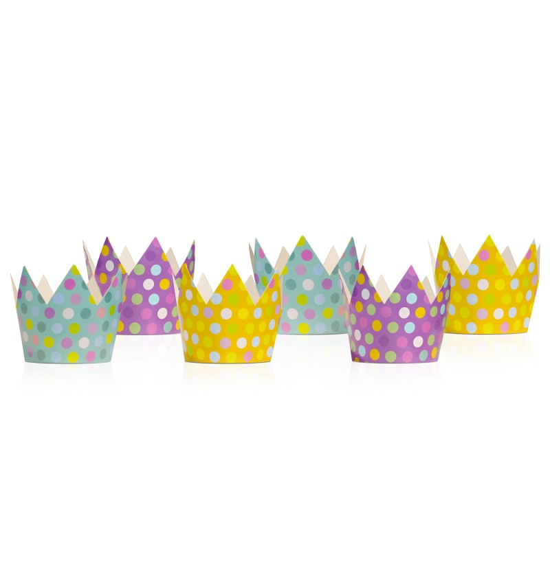 Set de 6 gorritos con forma de corona multicolor de lunares - Polka Dots Collection