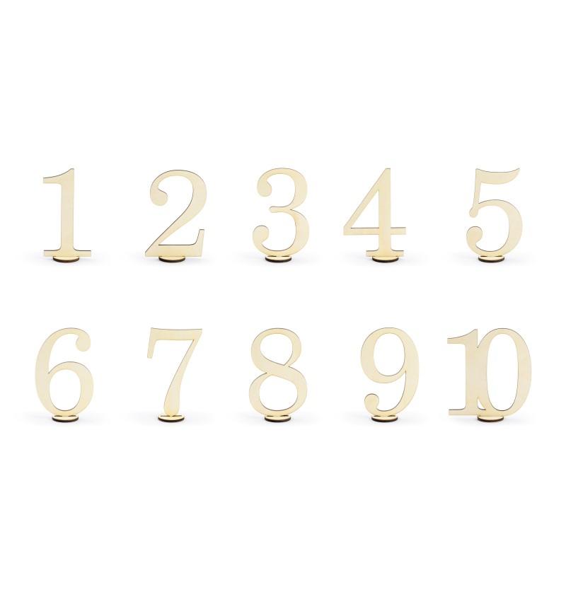 Set de 10 palillos con números para mesa dorados - Rustic Collection
