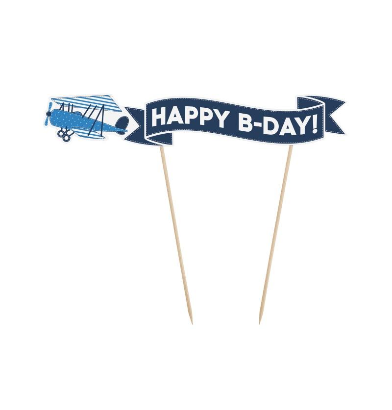 """Decoración para tarta """"Happy B-Day"""" de avión - Little Plane Collection"""