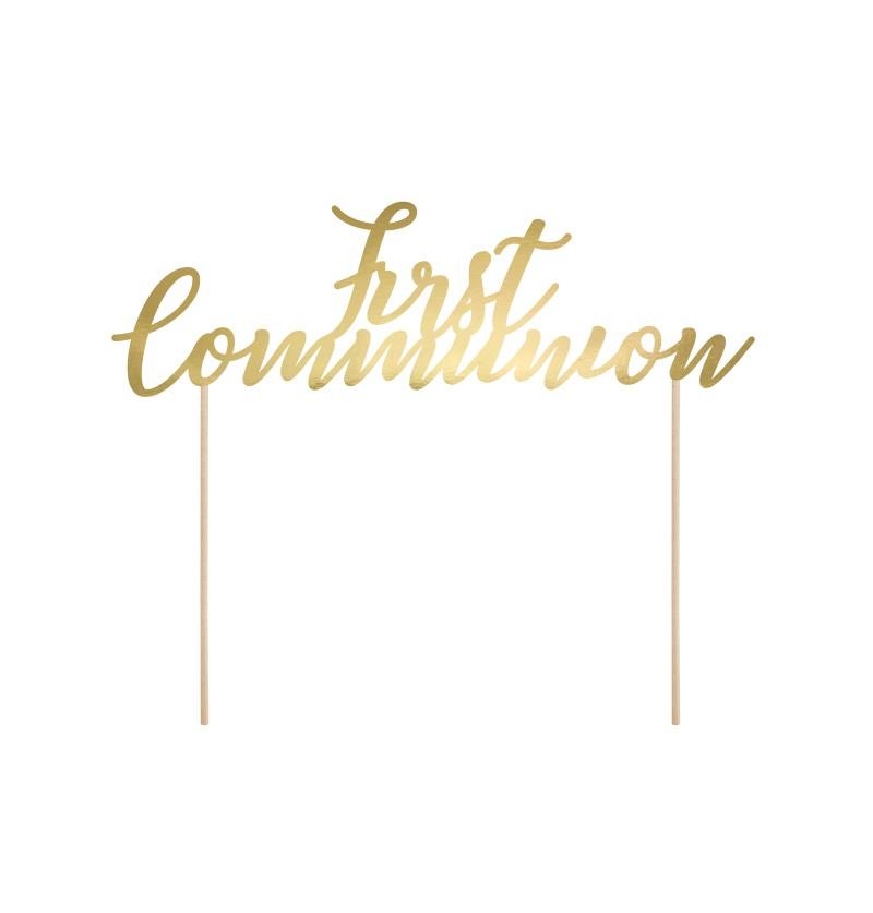"Decoración para tarta ""First Communion"" en dorado - First Communion"