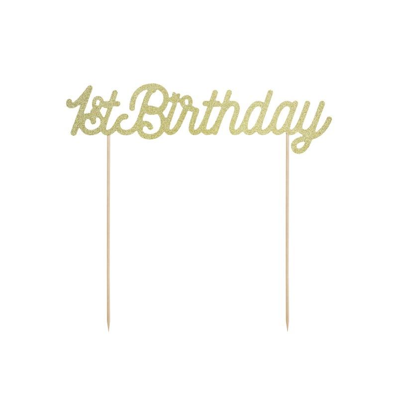 "Decoración para tarta ""1st Birthday"" dorado - Pink 1st Birthday"