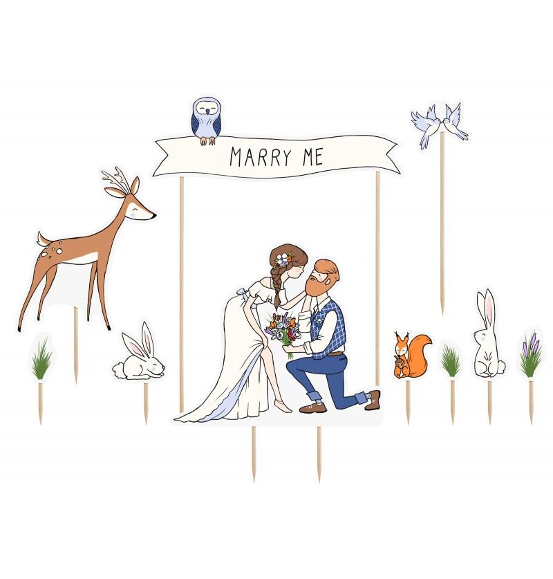 "Set de 10 figuras decorativas para tarta ""Marry Me"""