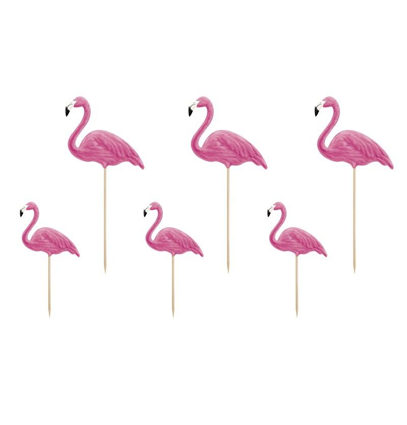 Set de 6 palillos decorativos de flamencos - Flamingos