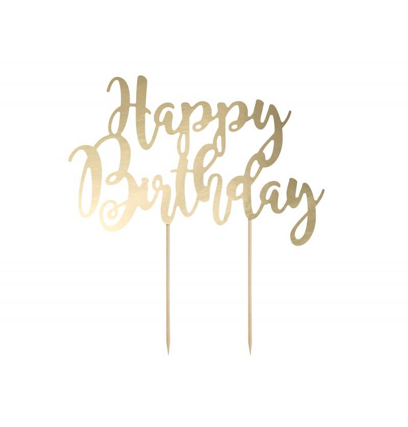 "Decoración para tarta ""Happy Birthday"" dorado - Black & White"