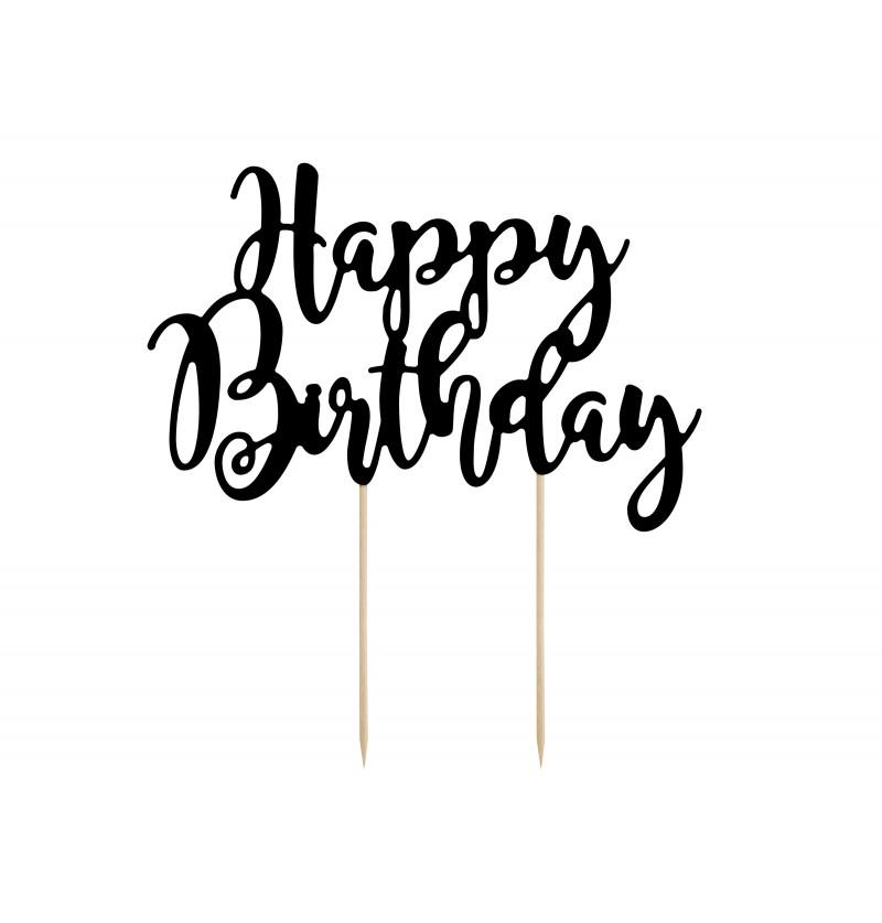 "Decoración para tarta ""Happy Birthday"" negro - Black & White"