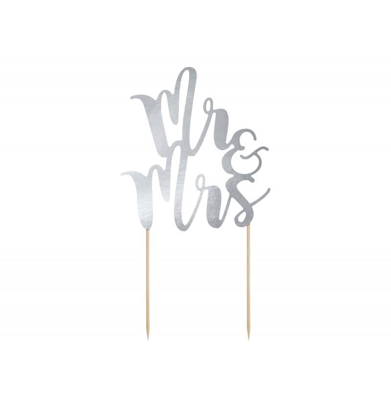 "Decoración para tarta ""Mr & Mrs"" plateado"