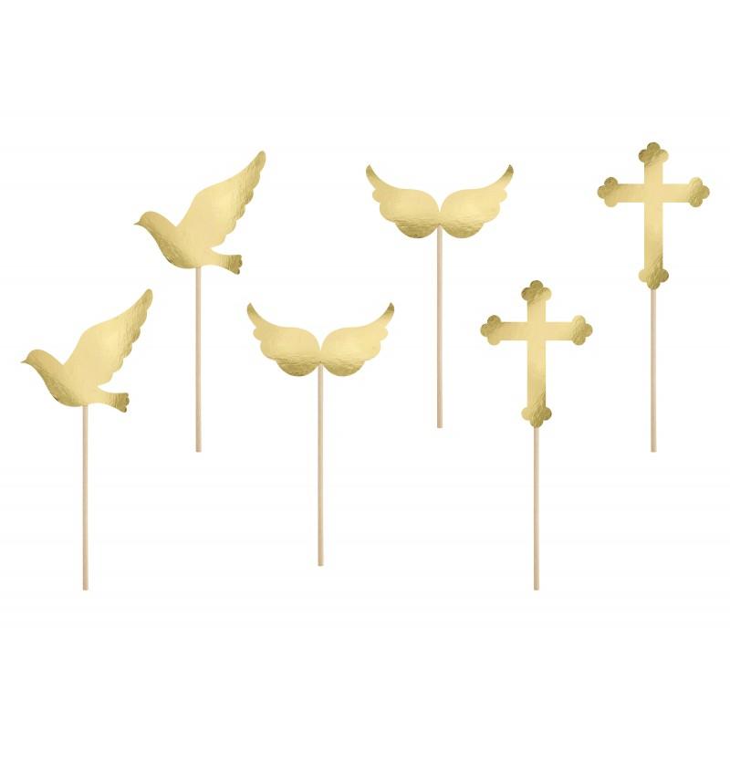 Set de 6 palillos decorativos con formas variadas Comunión  dorados - First Communion