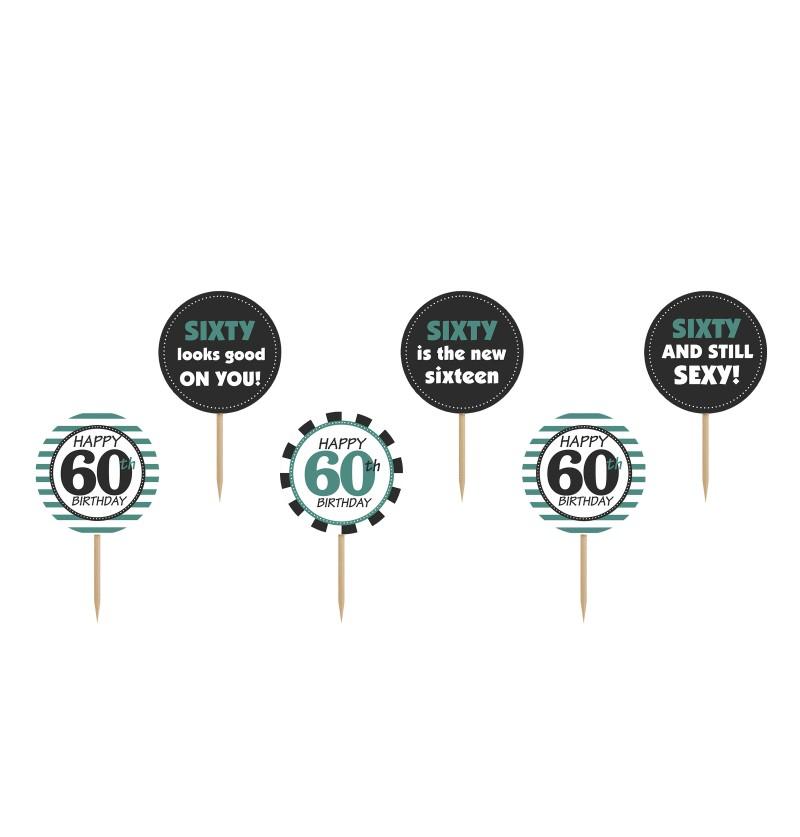 """Set de 6 palillos decorativos """"Happy 60th Birthday"""" - Milestone Birthday"""
