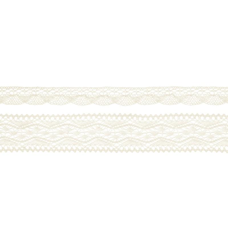 Set de 2 puntillas beiges de 2 anchos para decoración de botellas - Natural Wedding