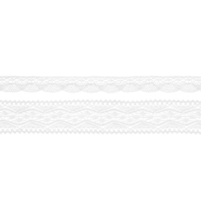 Set de 2 puntillas blancas de 2 anchos para decoración de botellas - Natural Wedding