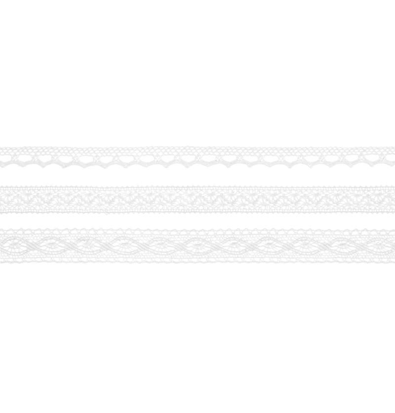 Set de 3 puntillas blancas de 3 anchos para decoración de botellas - Natural Wedding