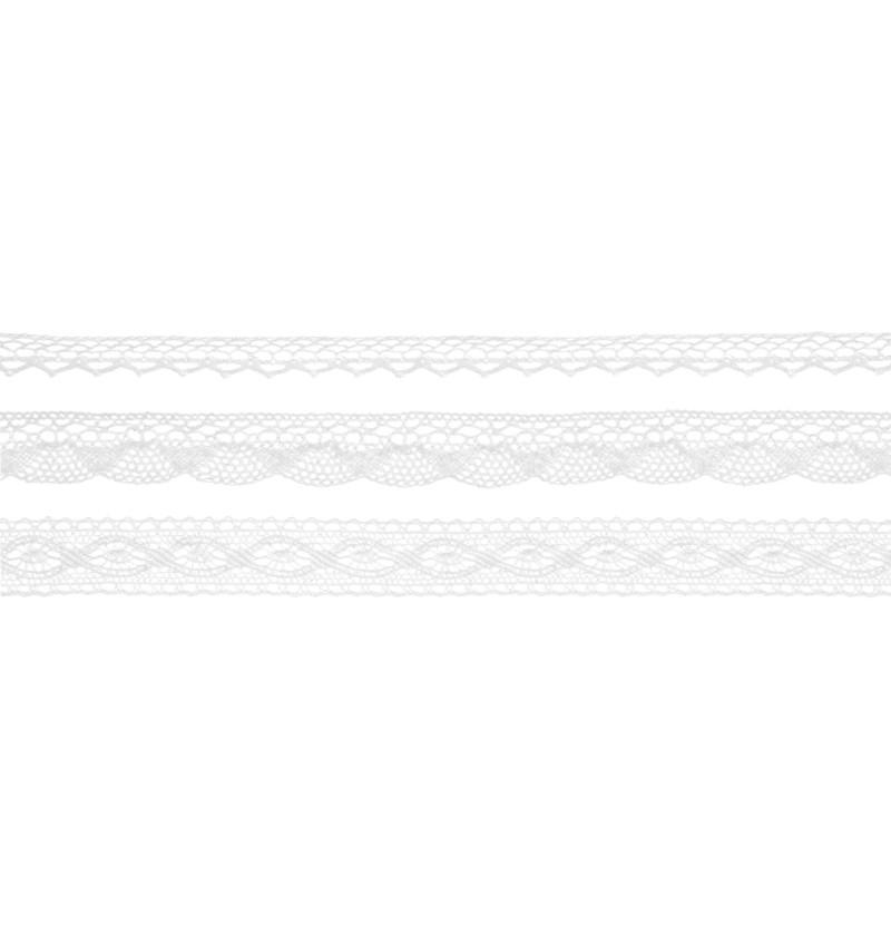 Set de 3 puntillas blancas de 2 anchos para decoración de mesa - Natural Wedding