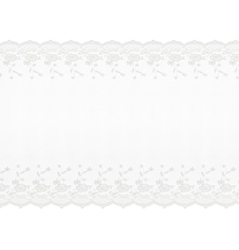 Camino de mesa blanco roto con decoración estrecha en extremos