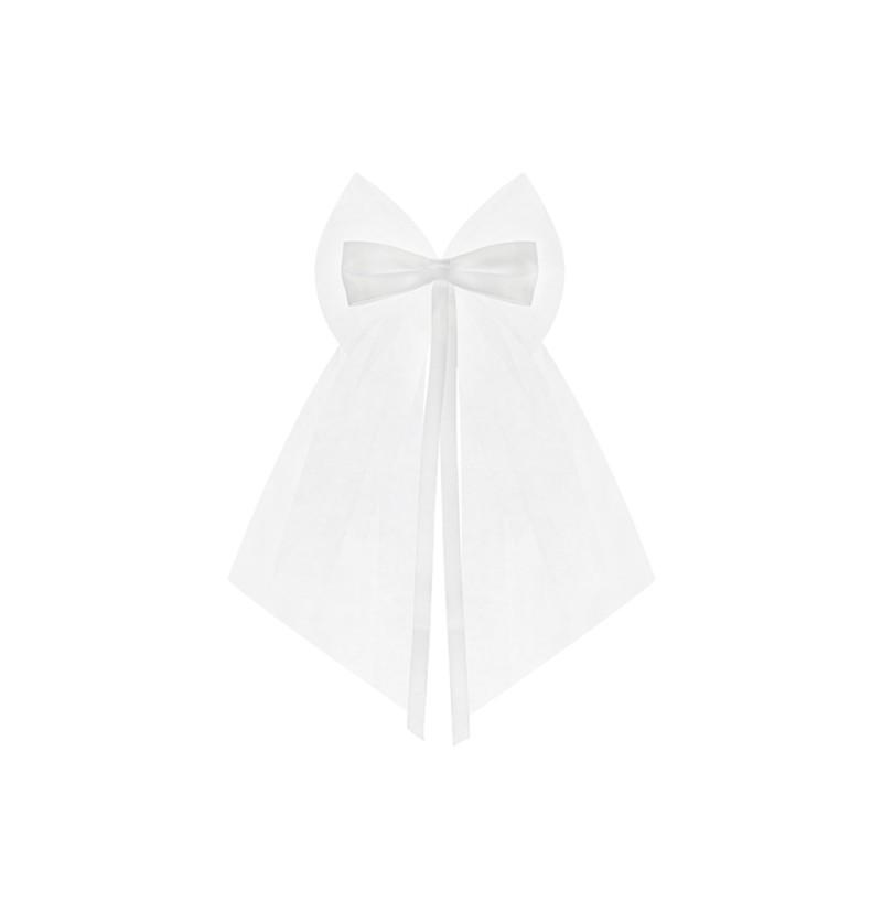 Set de 2 lazos de gasa y satinado blanco de 18 cm para coche de novia