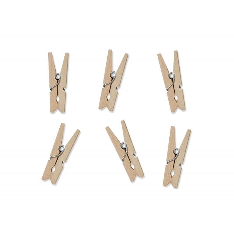 Set de 20 pinzas decorativas de 3 cm de madera